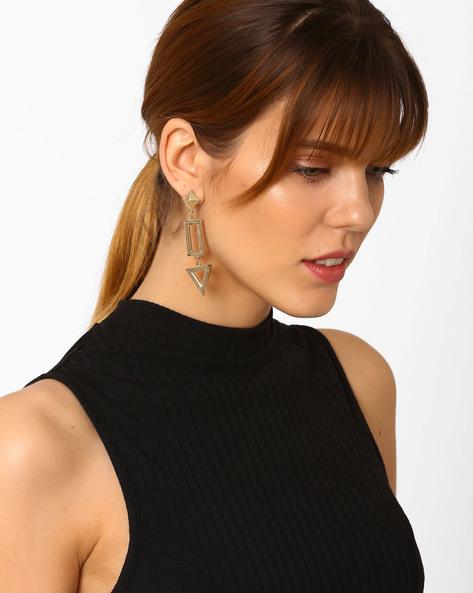Geometric Drop-Earrings By Pipa Bella ( Gold )