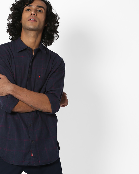 Checked Shirt With Patch Pocket By British Club ( Navyblue )