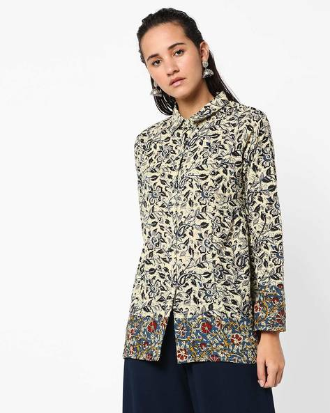 Floral Print Shirt Top By Anjani ( Beige )