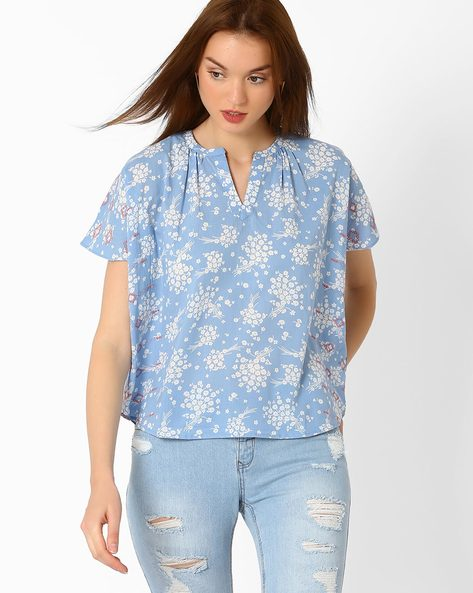 Floral Print Boxy Top With Embroidery By AJIO ( Blue )
