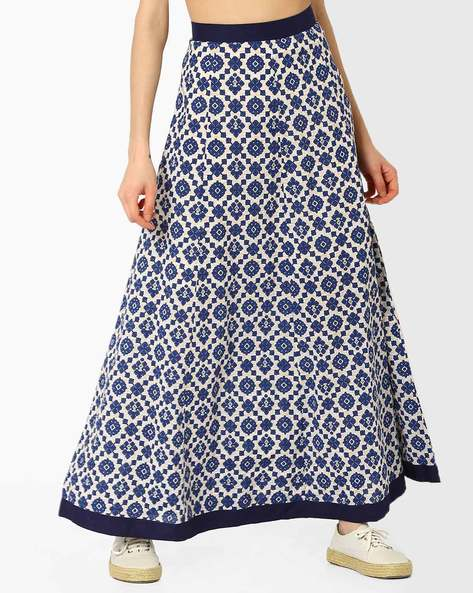 Printed Panelled Long Skirt By AJIO ( Indigo )