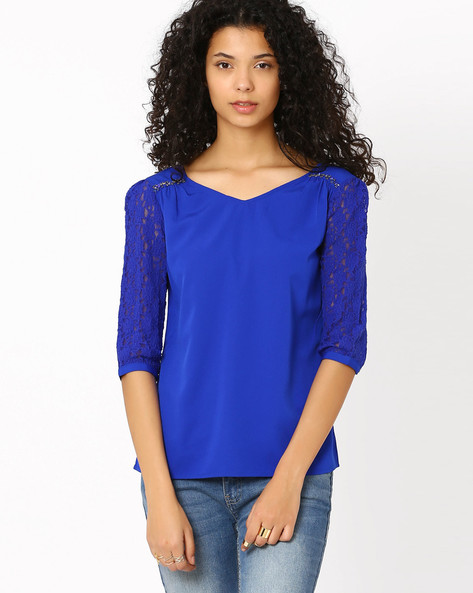 Top With Lace Sleeves By Honey By Pantaloons ( Blue )