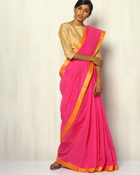 South Cotton Striped Saree With Zari Border By Indie Picks ( Magenta )