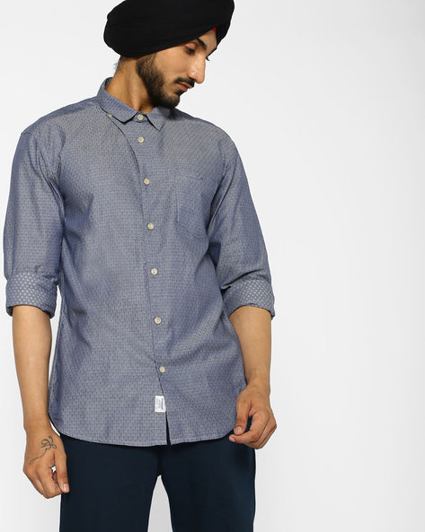 Cotton Shirt With All-Over Print Motifs By VOI JEANS ( Grey )
