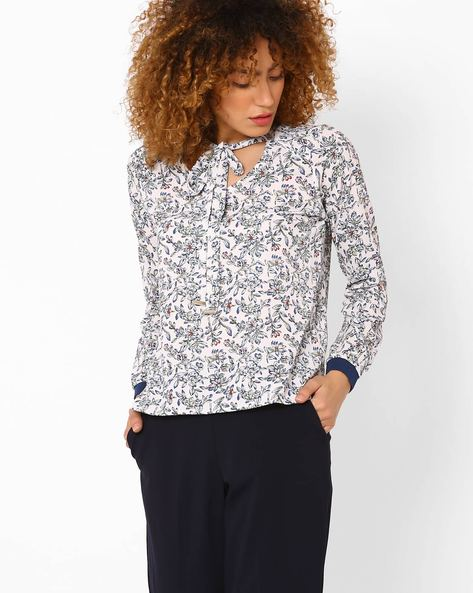 Floral Print Top With Neck Tie-Up By FIG ( White )