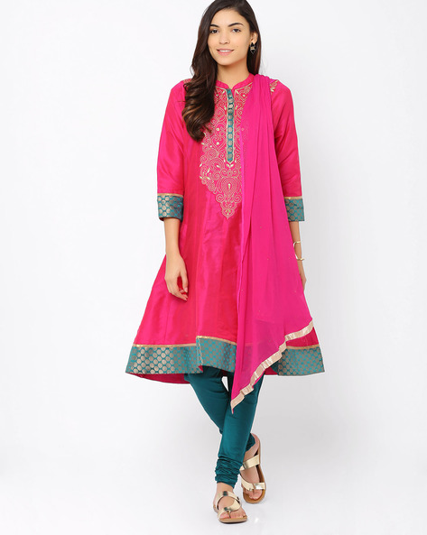 Embroidered Churidar Kurta With Dupatta By Trishaa By Pantaloons ( Pink )