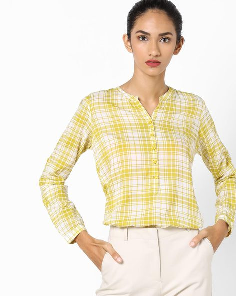 Checked Shirt With Notched Neckline By Fame Forever By Lifestyle ( Yellow )