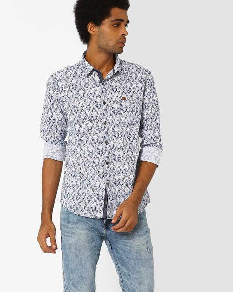 Paisley Print Cotton Shirt By SIN ( Navy )