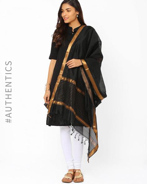 Mangalgiri Cotton Silk Dupatta By Indie Picks ( Black )