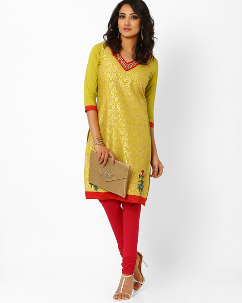 Printed Kurta With Embellished Neckline By AJIO ( Green )