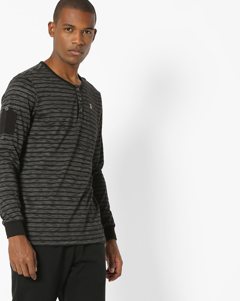 Striped Henley T-shirt With Shoulder Patch By SPYKAR ( Black )