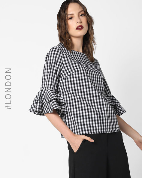 Gingham Checked Top With Bell Sleeves By Glamorous ( Blackwhite )
