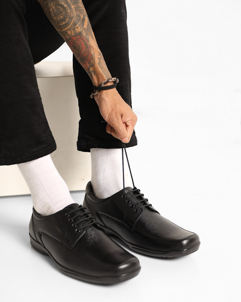 Lace-Up Leather Derby Shoes By RED CHIEF ( Black )