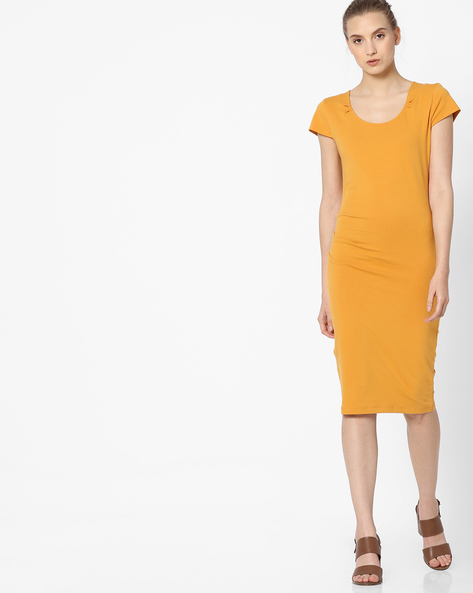 Bodycon Dress With Cap Sleeves By ANONYMOUS CO ( Yellow )