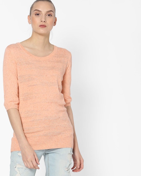 Knitted Top With Speckled Pattern By FIG ( Ltpeach )