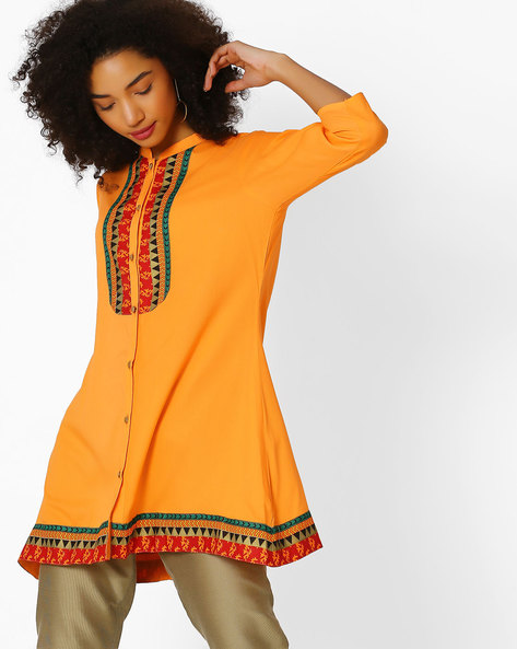 Mandarin Collar Tunic With Printed Panels By Shree ( Orange )