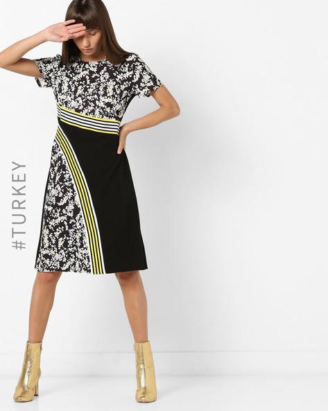 Floral Print A-line Dress By TRENDYOL ( Black )
