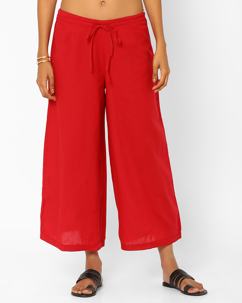 Culottes With Tie-Up Detail By Rangriti ( Red )