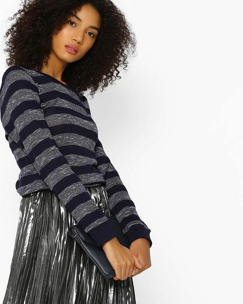 Striped Top With Ribbed Hems By DNMX ( Navy )