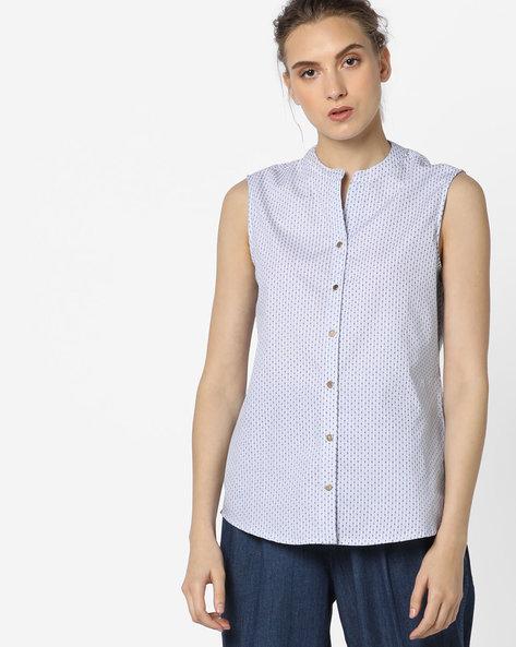 Printed Sleeveless Shirt By AJIO ( White )