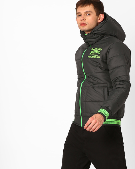 Hooded Quilted Jacket By TEAM SPIRIT ( Green )