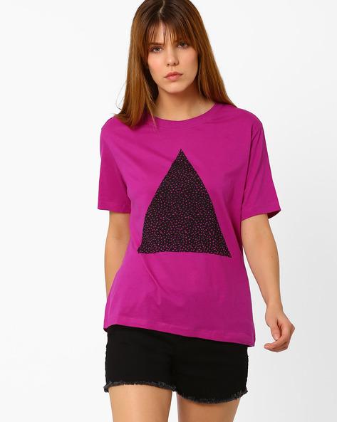 Crew-Neck T-shirt With Print By Vero Moda ( Purple )