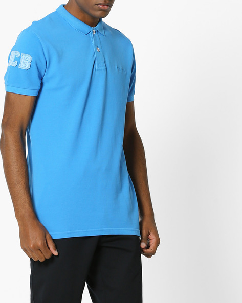 Polo T-shirt With Applique Branding By UNITED COLORS OF BENETTON ( Blue )