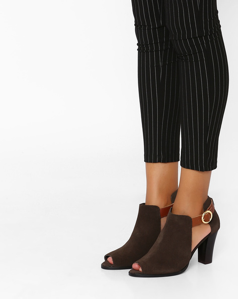 Suede Leather Block Heeled Shoes By Inara ( Brown )