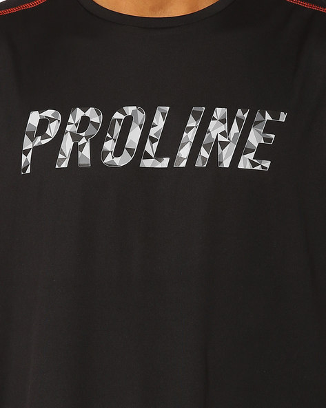 Panelled T-shirt With Graphic Print By PROLINE ( Black )