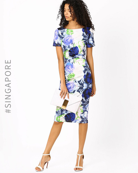 Floral Print Bodycon Dress By MDS ( Multi )