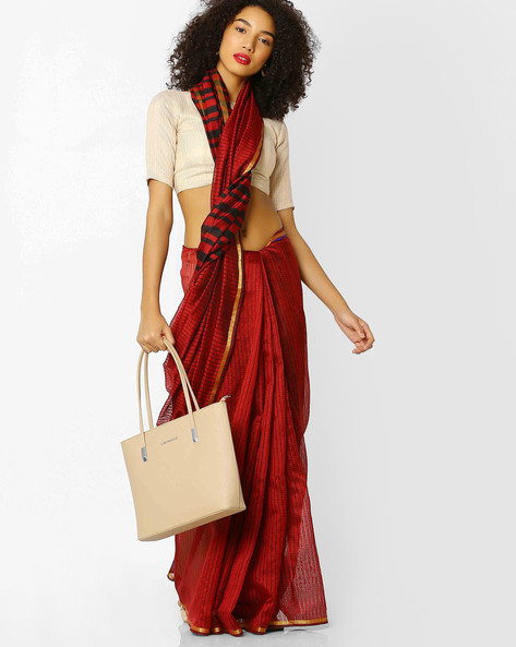Striped Bhagalpuri Silk Saree With Blouse By Florence ( Red )