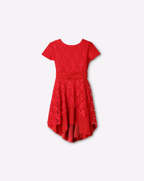 Fit & Flare Dress With Lace Overlay By GINI & JONY ( Red )