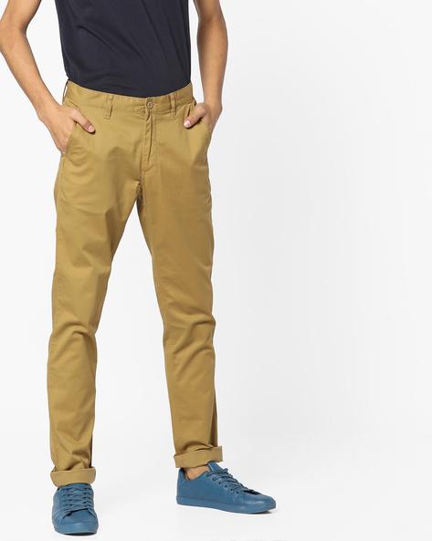 Slim Fit Flat-Front Trousers By JOHN PLAYERS ( Khaki )