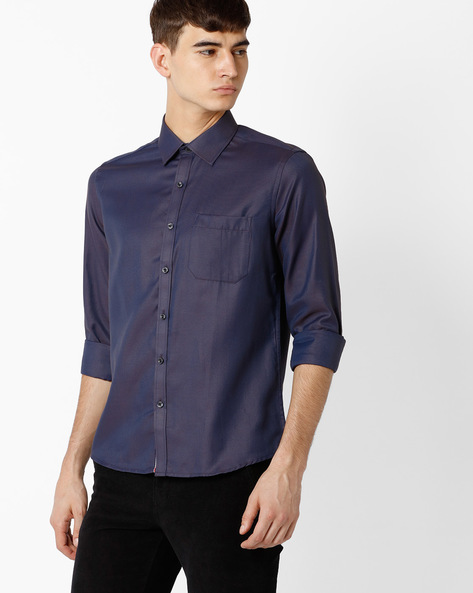 Regular Fit Shirt With Patch Pocket By NETWORK ( Navy )