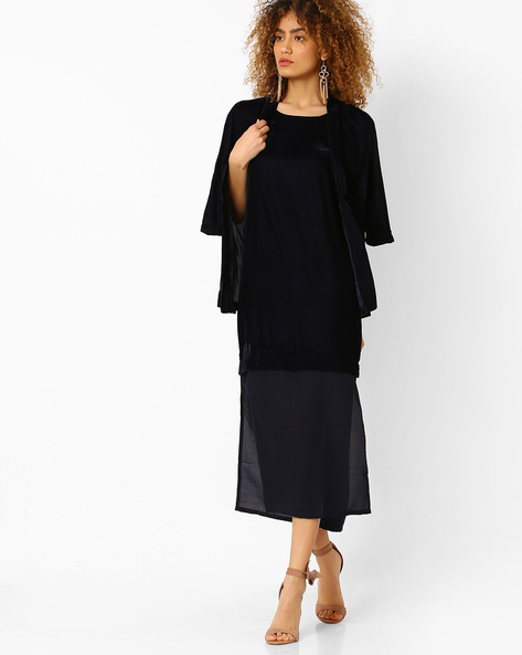 Velvet Dress With Semi-Sheer Panel By Evah London ( Navyblue )