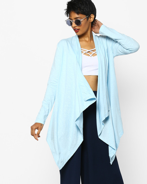 Cotton Waterfall Shrug By Project Eve WW Casual ( Lightblue )