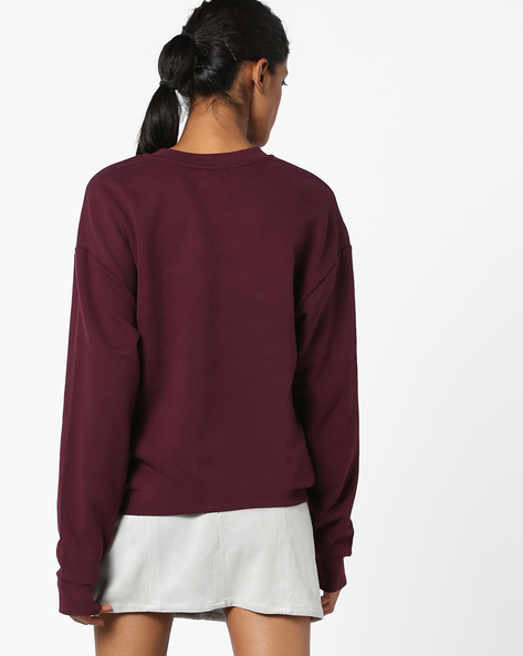 Crew-Neck Sweatshirt With Ribbed Hems By TALLY WEiJL ( Purple )