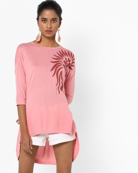 Printed Top With High-Low Hem By AJIO ( Pink )