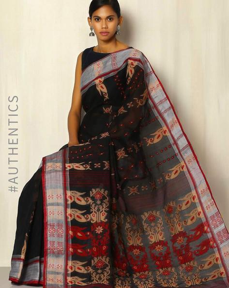 Handwoven Bengal Tant Tangail Cotton Jacquard Saree By Indie Picks ( Black )