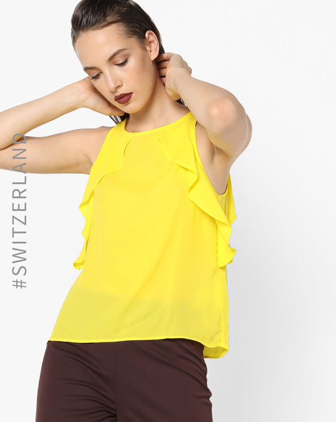 Sleeveless Top With Ruffled Panels By TALLY WEiJL ( Yellow )