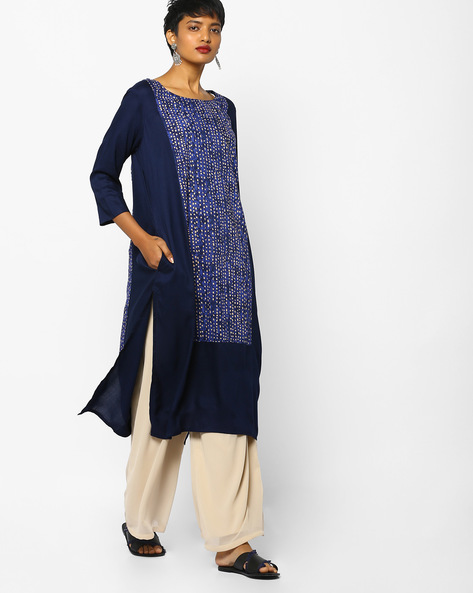 Straight Kurta With Printed Panels By PE IW Casual ( Blue )