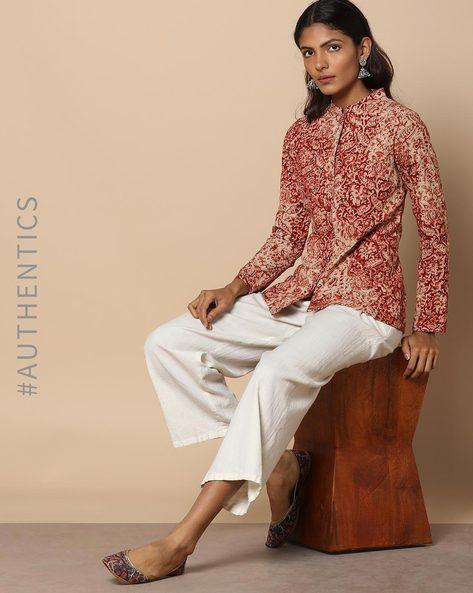Hand-Block Print Kalamkari Quilted Cotton Jacket By Indie Picks ( Red )