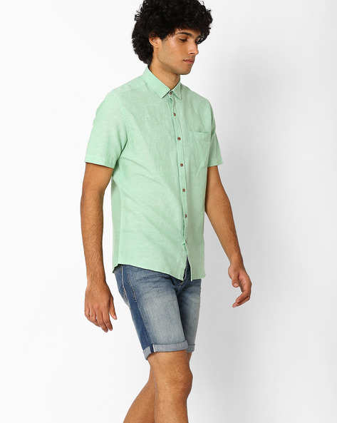 Slim Fit Shirt With Patch Pocket By AJIO ( Green )