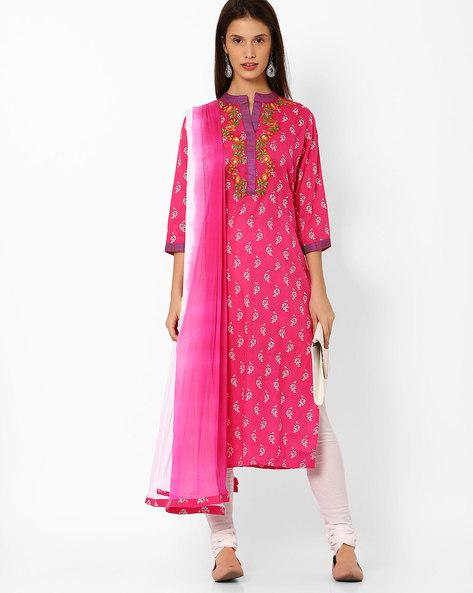 Floral Print Churidar Kurta With Dupatta By Shakumbhari ( Pink )