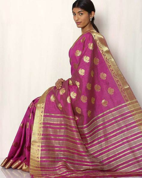 Woven Buti Art Silk Saree By Rudrakaashe-MSU ( Magenta )