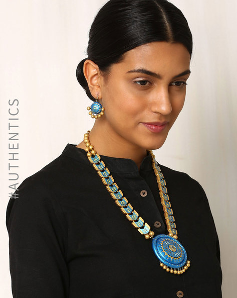 Handmade Terracotta Necklace & Earrings Set By Kalamayi ( Turquoise )