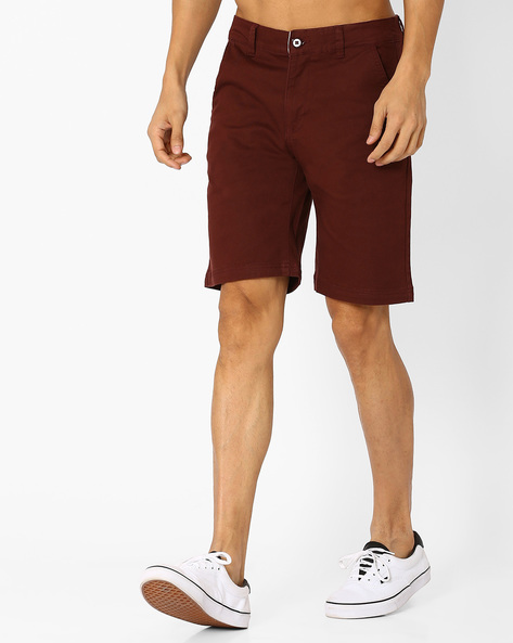 Slim Fit Shorts With Belt Loops By Blue Saint ( Maroon )
