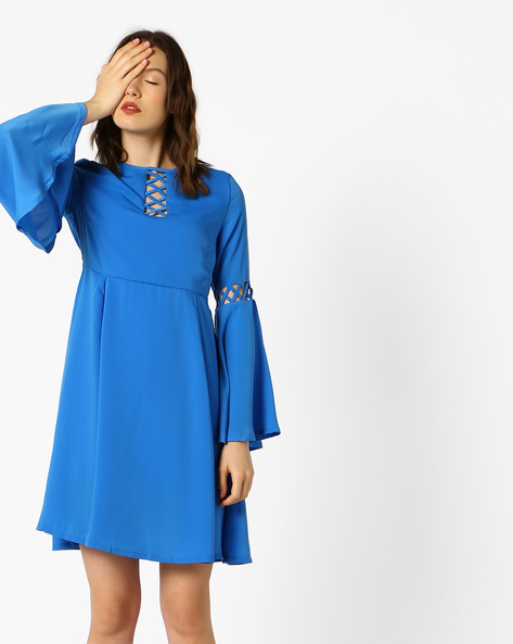 Fit & Flare Dress With Bell Sleeves By AJIO ( Blue )