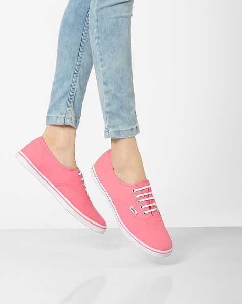 Authentic Lace-Up Shoes By Vans ( Pink )