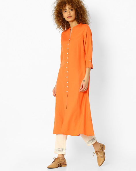 Kurta With Roll-Tab Sleeves By Melange By Lifestyle ( Coral )